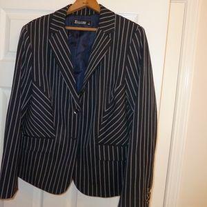 Navy pinstripe suit blazer